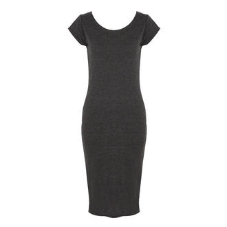 View Item Dark Grey Melange Jersey Midi Dress